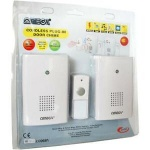 Omega Mains Plugin Cordless Twin Door Chime Set 75m Range With One Bell Push