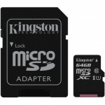 Kingston Micro SD with Adapter  64GB  SDCS/64GB