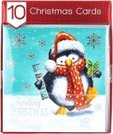 10 SQUARE CUTE PENGUIN CARDS