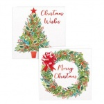 10 SQUARE TRAD TREE & WREATH CARDS