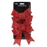 2 RED TINSEL BOWS