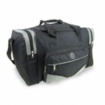 Black-Grey heavy duty Polyester holdall two side compartment  30X50X27cm (A152-BGY)