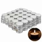 100 White Tea Light Candle 4 Hour Long Burn Paraffin Wax Night Lantern Unscented