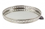 Large Oval Silver Votive Tea Light Candle Holder Tray Mirror Glass Plate 35cm