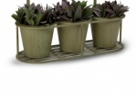LARGE TRIPLE PLANT POT HOLDER GREEN