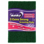 Minky Heavy Duty Extra Strong Anti Bacterial Anti Grease Flat Scourer 3pk (AA84200301)