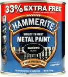Hammerite Metal Paint Hammered - Smooth black - 750ml + 33% = 1L Tin (5158235)