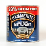 Hammerite Metal Paint Hammered - Smooth Silver - 750ml + 33% = 1L Tin (5158234)