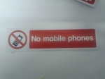Stick On 50mm x 200mm 'No Mobile Phones'
