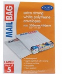 County Polythene Large Mail Bags 5-Pcs
