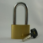 Tri-Circle Long Shackle Brass Plated 50mm  Padlocks(L265)