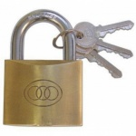 Tri-Circle 63mm Brass Plated Padlock Keyed Alike (ALL Padlocks takes same keys)