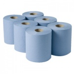 Centrefeed Towel Rolls - BLUE  pk6