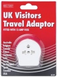 Red/Grey UK Visitor Travel Adaptor - Blister Pack B51PF