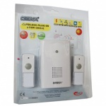 ****Omega Mains Plug In Wireless Door Chime Set With Twin Bell Push White (17322)