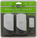 Pifco Wirefree Door 2pc Chime Set With One Bell Push Plug In