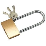 CL264/38mm Brass Padlock Carded Long Shackle