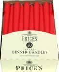 Prices Tapered Dinner Candle Unwrapped 50pk Red