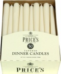 Prices Tapered Dinner Candle Unwrapped 50pk Ivory