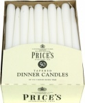 Prices Tapered Dinner Candle Unwrapped 50pk White