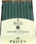 Prices Tapered Dinner Candle Unwrapped 50pk Evergreen