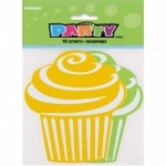 10 MINI CUPCAKE CUT-OUTS - YELLOW & GREEN