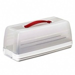 Curver Chef at Home Cake Storage - Rectangle Clear/ White Base/ Red Handle