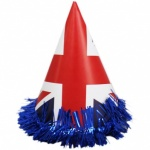 8pc Union Jack Design Party Hat with Fringe PP Bag