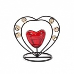 12cm Candle / Glass with Jewel Heart