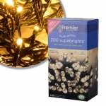 Premier Indoor & Outdoor 200 M-A LED Supabright - Warm White - Green Cable