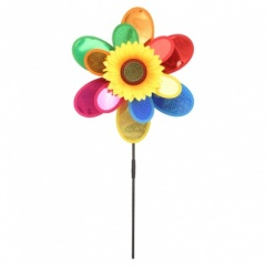 Plastic Windmill With 4 Spininng Sunflower Heads