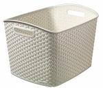 Curver My Style XL Nestable Rattan Basket - XL 28L Rectangle Vintage White