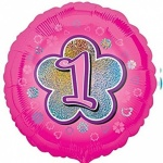 18'' Standard Holographic Foil Balloon : Pink Star 1