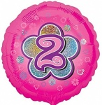 18'' Standard Holographic Foil Balloon : Pink Star 2