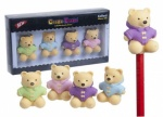 4pc Yellow Bear W/duffle Coat  Erasers