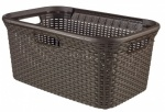 Curver Rattan Rectangle Laundry Basket - 45L   Dark Brown