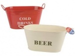 2ass Col Painted Steel Jumbo Oval Ice Bucket W/handle & Tag