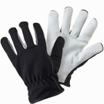 Lined Dual Leather Black Gloves (B6320)