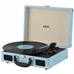 Akai Rechargeable Turntable in Faux Blue Leather Case
