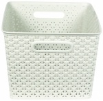 Curver My Style Large Nestable Rattan Basket - Large 18L Rectangle Vintage white