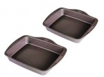 **** Pyrex Asimetia 2 piece large rectangular roaster set - 30 x 24cm & 35 x 27cm