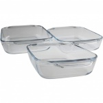 Pyrex 3 piece Optimum rectangular roaster set - boxed - 31 x 20cm + 35 x 23cm + 39 x 25cm