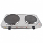Kitchen Perfected 2500w Double Hotplate - Brushed Steel