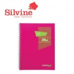 Silvine A5+ Twinwire Fluorescent Notebooks - 160 pages lined with margin -Pack of 8
