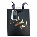 ED BAGS, NAVY TEXT - LRG, PK OF 6