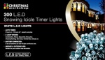 Benross 300 LED Battery Operated Snowing Icicle Timer Lights, Warm White (79130)