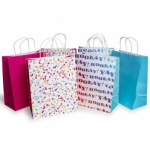 ED GIFT BAGS, FEMALE KRAFT CONFETTI - LARGE (FCOL)  PACK OF 6