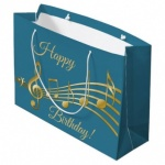 ED GIFT BAGS, GOLD & TEAL TEXT LARGE