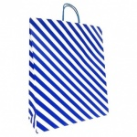 ED GIFT BAGS, BLUE STRIPE TEXT LRG, pk of 6