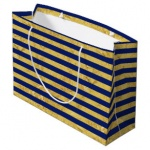 ED GIFT BAGS, BLUE & GOLD STRIPES LRG, PK OF 6